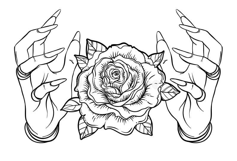Astronomía del vintage: manos humanas con el tatuaje de Blackwork Flowe de Rose stock de ilustración