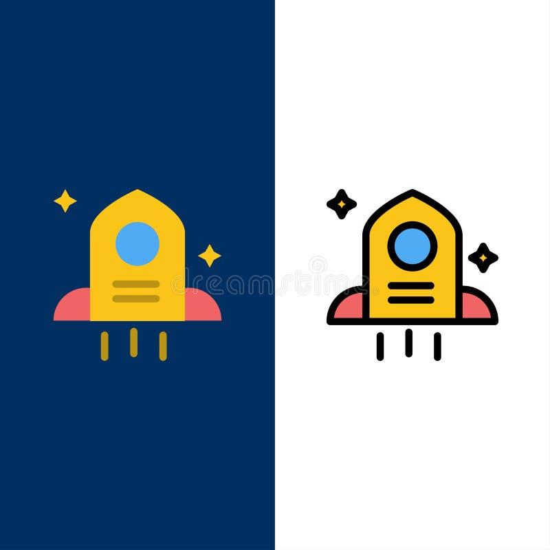 Astronomía, Rocket, iconos del espacio El plano y la línea icono llenado fijaron el fondo azul del vector libre illustration