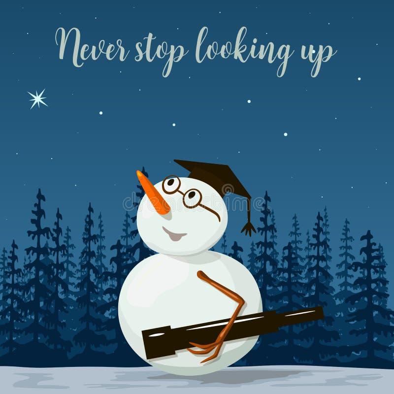 Astronome de scientifique de bonhomme de neige, astronome paysage avec la silhouette de la forêt la nuit Illustration de vecteur illustration stock