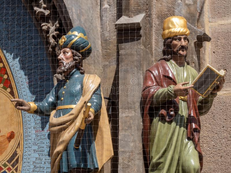 Astronomer and Chronicler Figures on the Astronomical Clock in Prague, Czech Republic royalty free stock image