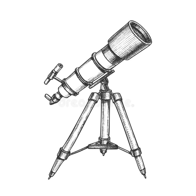 Astronomer Equipment Telescope Monochrome Vector. Standing Telescope For Explore And Observe Galaxy And Cosmos. Discovery Optical Device Designed In Retro royalty free illustration