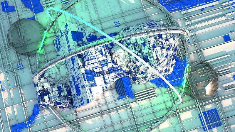 Astronomes de l'espace, villes de l'avenir, la science-fiction, la science fiction, plats parallèles, centres urbains illustration stock