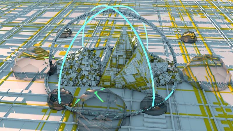 Astronomes de l'espace, villes de l'avenir, la science-fiction, la science fiction, plats parallèles, centres urbains illustration libre de droits