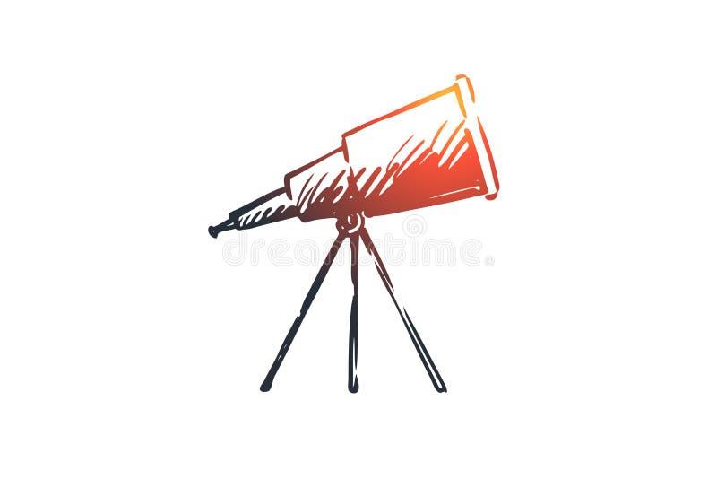Astronomi vetenskap, teleskop, kosmos, optiskt begrepp Hand dragen isolerad vektor stock illustrationer