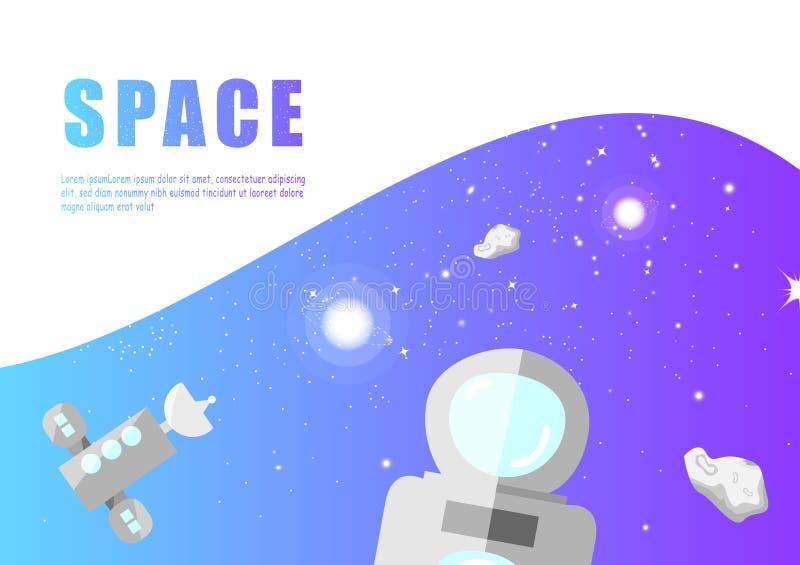 Astronomia, astronautyczny wektor, gwiazdy galaxy prezentacji projekta płaski tło, sieć, ulotka, sztandar i okładkowy szablon, royalty ilustracja
