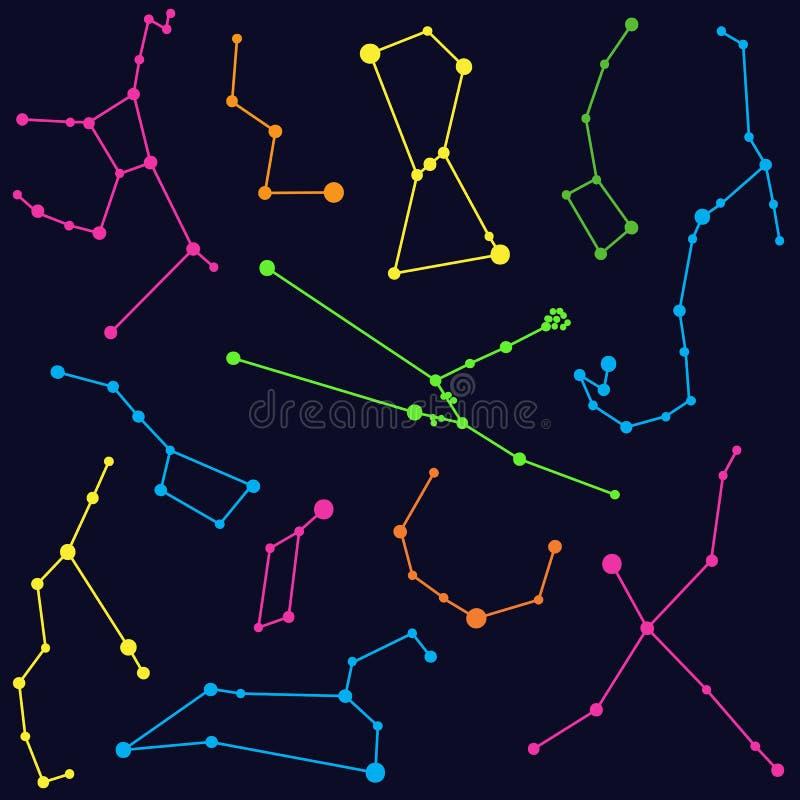 Astronomia - illustrazione delle costellazioni colorate illustrazione vettoriale