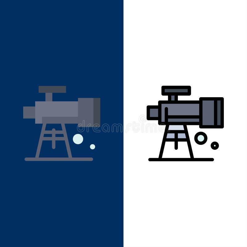 Astronomia, zakres, przestrzeń, teleskop ikony Mieszkanie i linia Wypełniający ikony Ustalony Wektorowy Błękitny tło royalty ilustracja