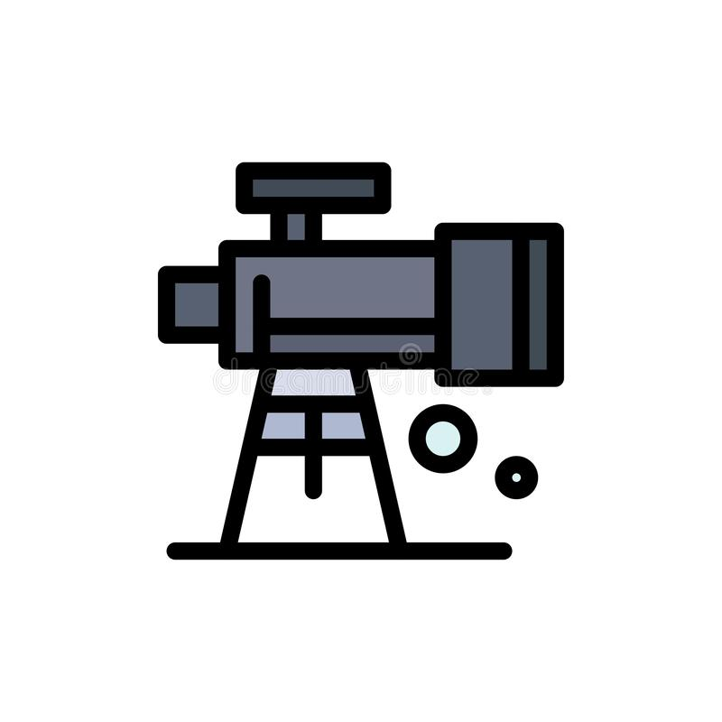 Astronomia, zakres, przestrzeń, teleskopu koloru Płaska ikona Wektorowy ikona sztandaru szablon ilustracji