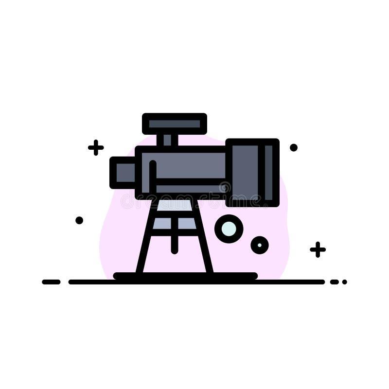 Astronomia, zakres, przestrzeń, teleskopu mieszkania ikony sztandaru Biznesowa linia Wypełniający Wektorowy szablon ilustracja wektor