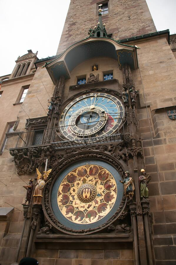 Astronomic clock in the old square in the city of Prague stock images