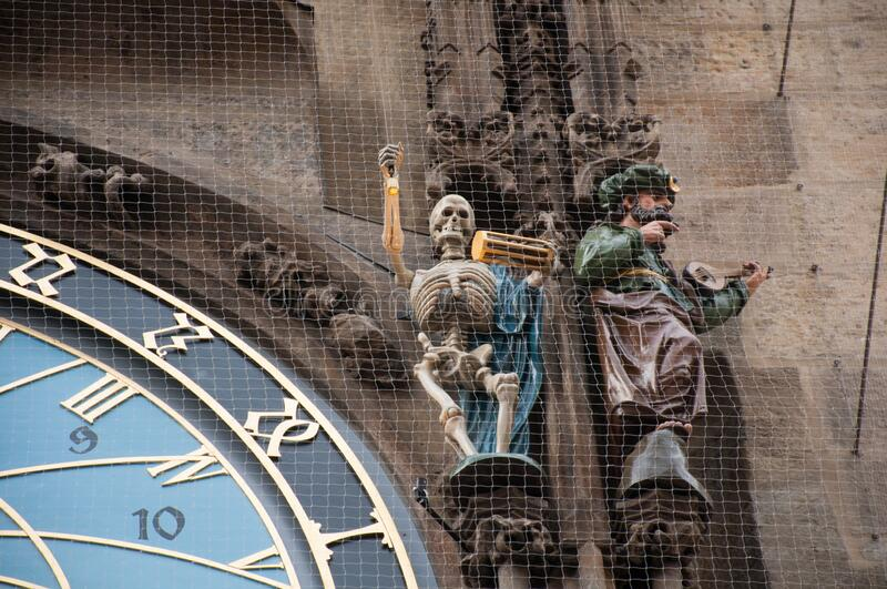 Astronomic clock in the old square in the city of Prague royalty free stock photography