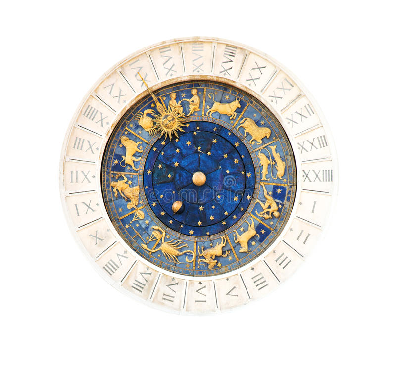 Astronomical clock. Famous XV century St Marks clock on Piazza San Marco in Venice stock image
