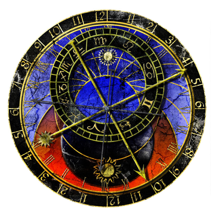 Download Astronomical Clock In Grunge Style Stock Illustration - Image: 14015139