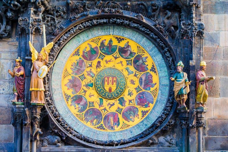 Astronomical Clock Orloj closeup in Czech Republic, Europe. Vintage style. Prague clock tower detail. Famous attraction stock image