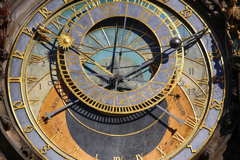 Astronomical clock Orloj at Old Town Square in Prague, Czech Rep stock photography