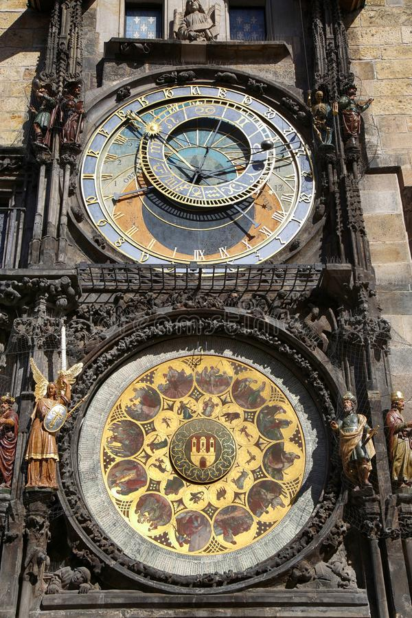 Astronomical clock Orloj at Old Town Square in Prague, Czech Rep royalty free stock photography