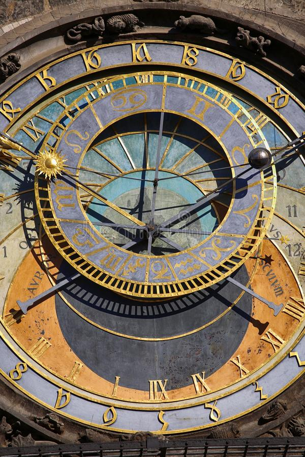 Astronomical clock Orloj at Old Town Square in Prague, Czech Rep stock photos