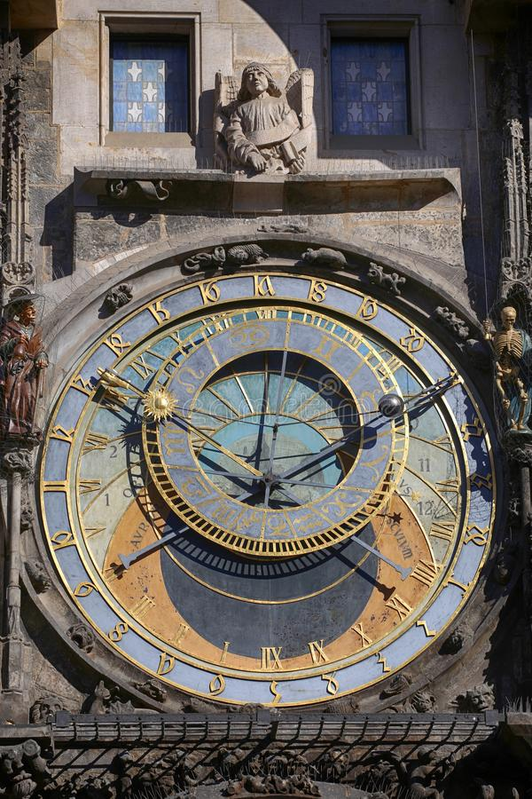 Astronomical clock Orloj at Old Town Square in Prague, Czech Rep stock photo