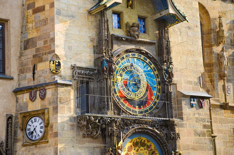 Astronomical clock in Prague, Czech Republic. Famous Orloj on the Old Town Square of the Czech capital. Photographed during. Morning golden hour. Detail, close royalty free stock image