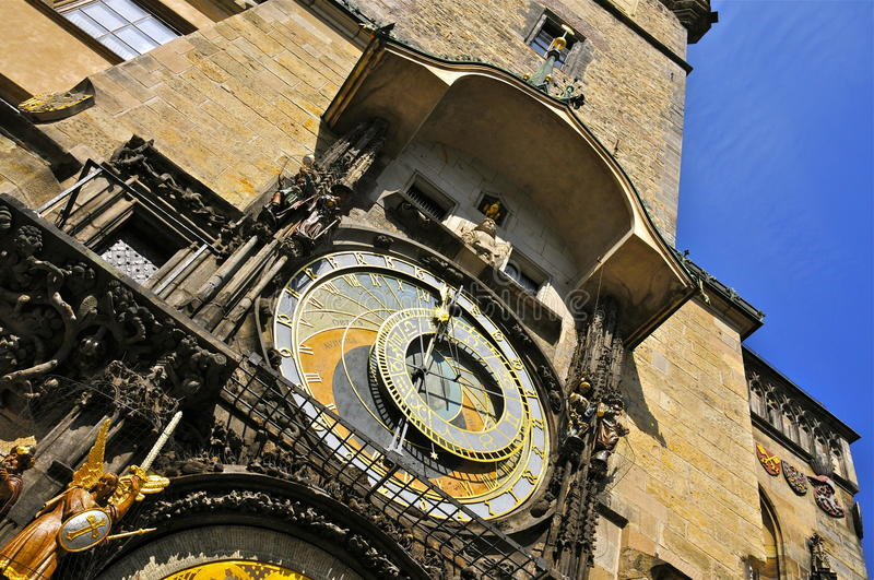 Astronomical Clock, Prague. Details of the Astronomical Clock Orloj; 1410, mounted on the southern wall of the Town Hall, Old Town Square of Prague. The clock stock photos