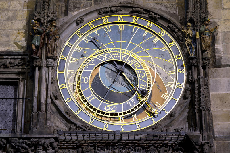 Astronomical clock in Prague. Night view of the medieval astronomical clock in the Old Town square in Prague stock photos