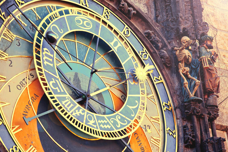 Astronomical clock in Prague. Astronomical clock in tawn hall in Prague, Czech Republic royalty free stock photo