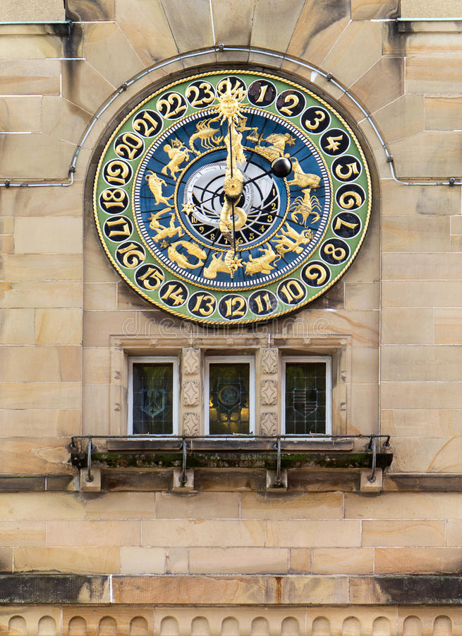 Astronomical clock in Schramberg. Astronomical clock on the town hall in Schramberg, Germany. Built in 1913 by the clock tower factory Philipp Hörz from Ulm stock photos