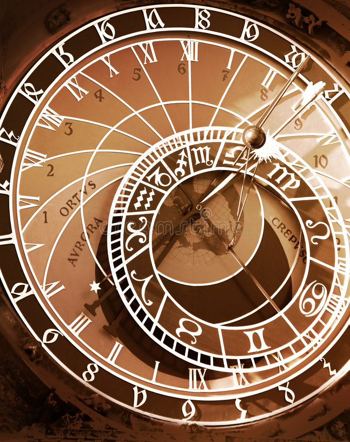 Download Astronomical Clock In Sepia Toned Stock Image - Image: 1288605