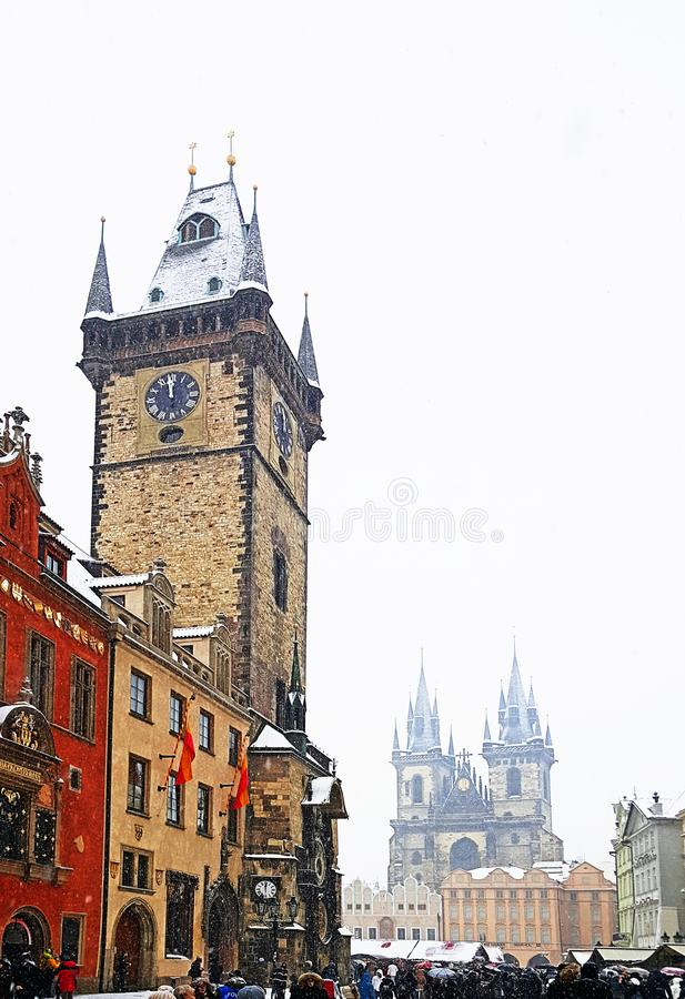 Astronomical clock and tower and Church of Our Lady before Týn in old town square of prague city stock images