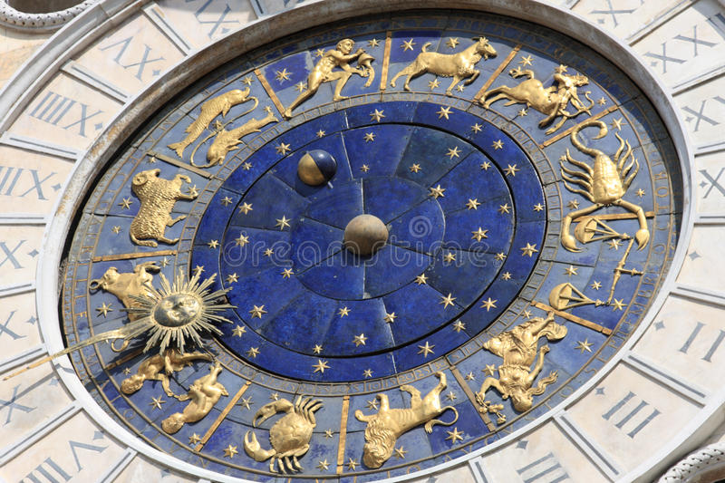 Astronomical clock in Venice, Italy stock images