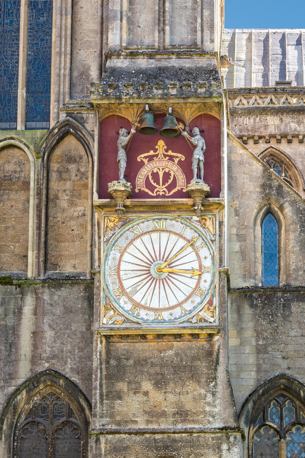 Astronomical clock at Wells cathedral. Wells, United Kingdom - August 6, 2016: Outer dial of astronomical clock at Wells cathedral royalty free stock images