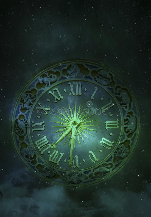 Astronomical Clock with Zodiac Signs royalty free illustration