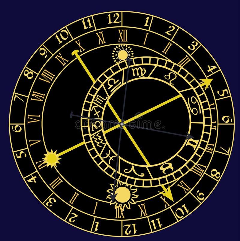 astronomical klocka royaltyfri illustrationer