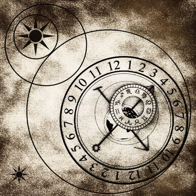 astronomical klocka vektor illustrationer