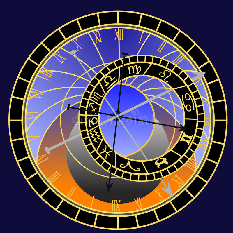 astronomical klocka prague vektor illustrationer