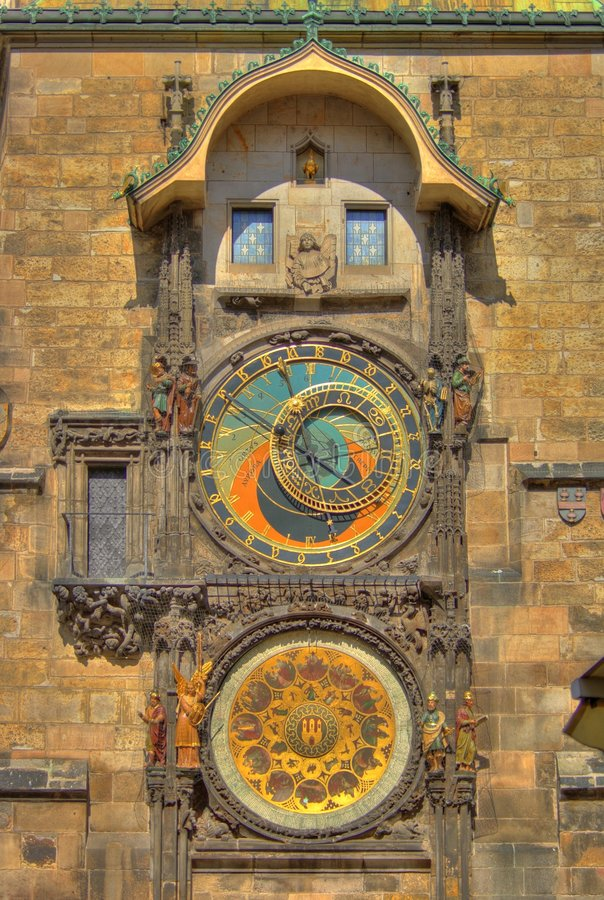 astronomical klocka prague arkivbild