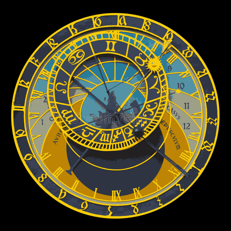 astronomical klocka prague stock illustrationer