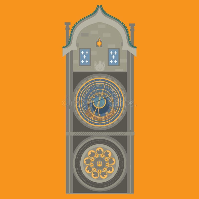 astronomical klocka prague för republiktown för cesky tjeckisk krumlov medeltida gammal sikt Gammal stadfyrkant i europeisk stad  vektor illustrationer