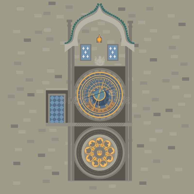 astronomical klocka prague för republiktown för cesky tjeckisk krumlov medeltida gammal sikt Gammal stadfyrkant i europeisk stad  stock illustrationer