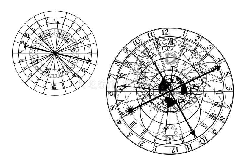 Astronomical klocka - vektor vektor illustrationer