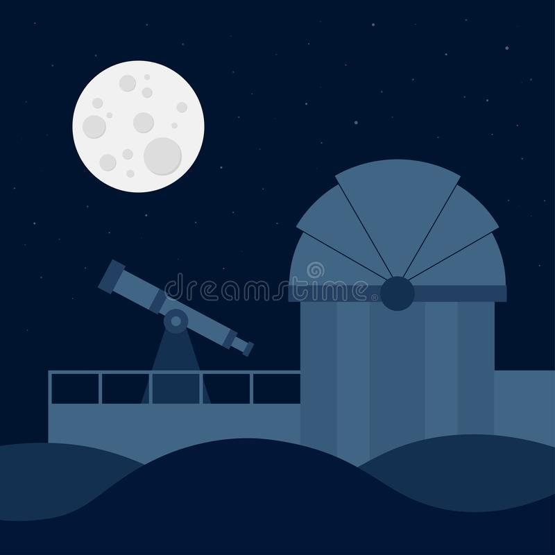 Astronomical observatory with full moon and night sky. Silhouette of the astronomical observatory with full moon and night sky stock illustration