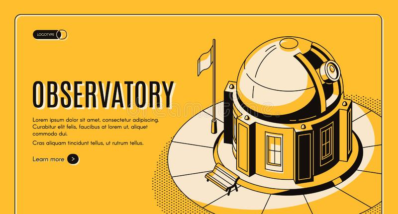 Astronomical observatory isometric vector website. Ground-based observatory for astronomical observations isometric vector web banner, landing page template vector illustration