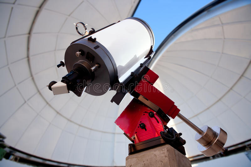 Astronomical observatory telescope indoor stock image