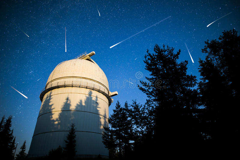 Astronomical Observatory under the night sky stars. Vignette royalty free stock photography