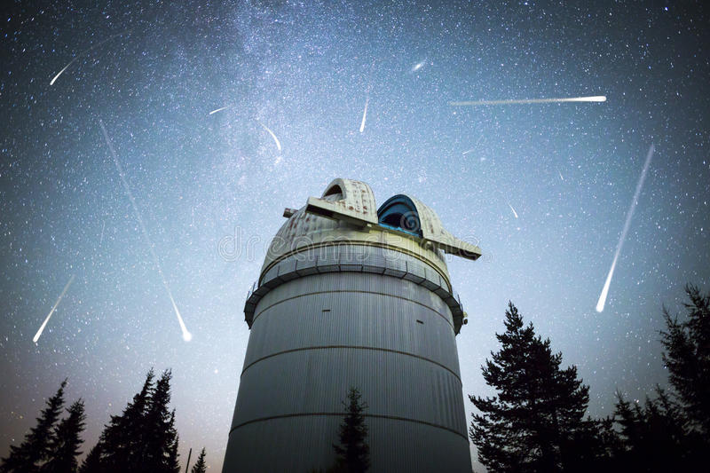 Astronomical Observatory under the night sky stars. Vignette stock photos