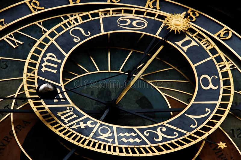 Astronomical prague clock stock image