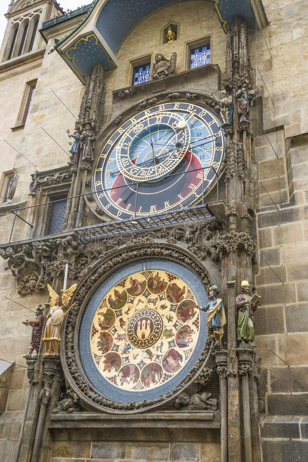 Astronomiczny zegar w starym miasteczku w Praga, republika czech, piękny widok zdjęcie stock