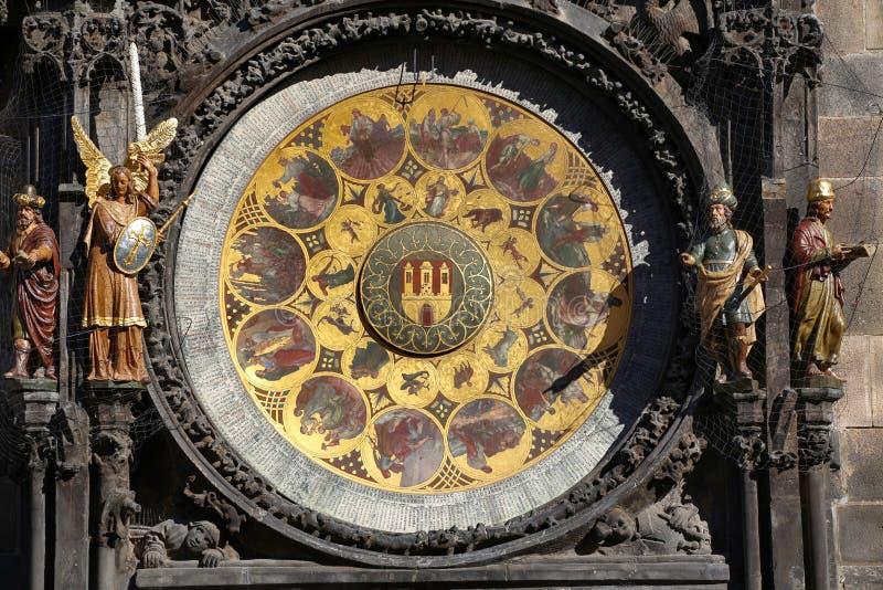 Astronomiczny zegarowy Orloj przy Starym rynkiem w Praga, Czeski ryps obrazy stock