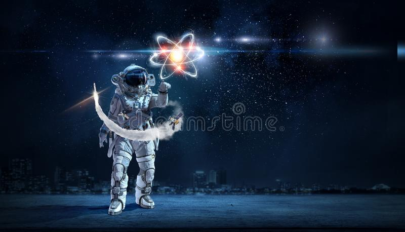 Astronomie als wetenschap Gemengde media royalty-vrije stock foto's