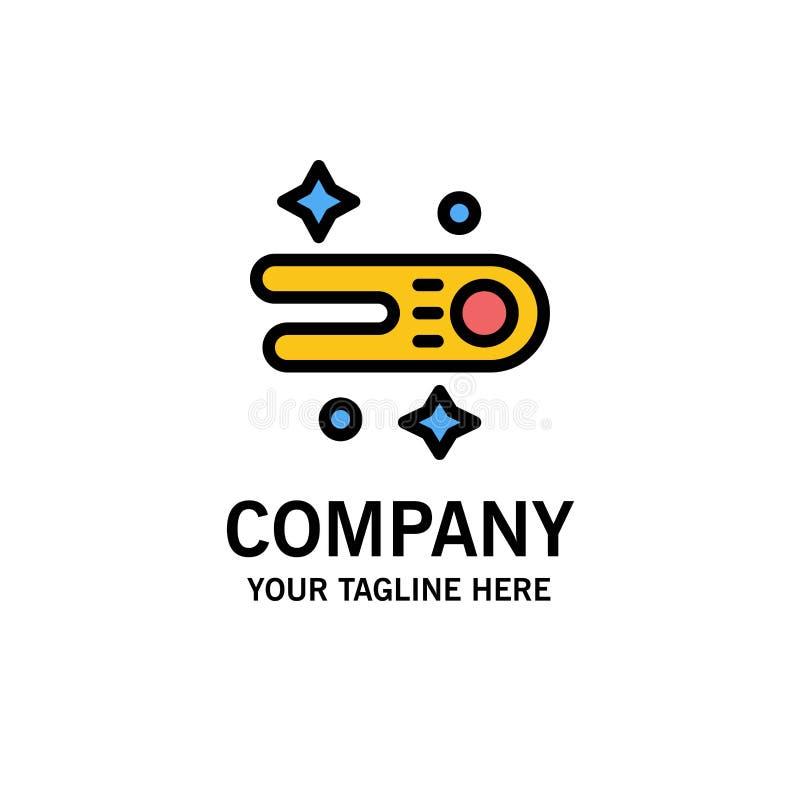 Astronomie, comète, affaires Logo Template de l'espace couleur plate illustration libre de droits